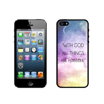 Quote - With God All Things Are Possible Galaxy Sky iPhone 5 Case - For iPhone 5/5G - Designer TPU Case Verizon AT&T Sprint