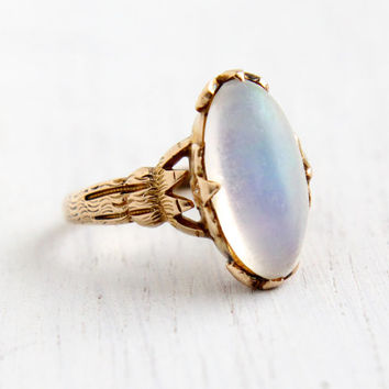 Antique 9K Rose Gold Large Jelly Opal Ring- Vintage Size 7 Early 1900s Edwardian Fine Jewelry