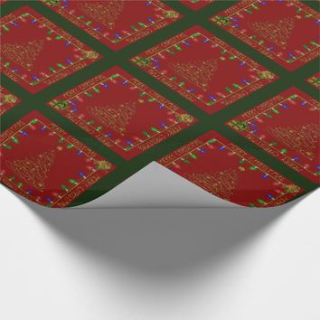 Merry Christmas Lights-Red-Green-1-GIFT WRAP Wrapping Paper