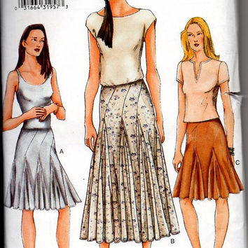 Vogue Sewing Pattern 7302 Misses Skirt Flared Below Waist Paneled Fishtail Pleated Godets Hem Boho Hippie Style Uncut Plus Size 14 16 18