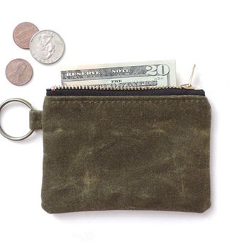 Waxed Canvas Coin Purse Keychain Slim Wallet Zipper Pouch Green