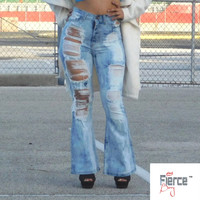 GJG High Waist Distress Frost Tie Dye Wash Jeans