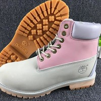 Timberland Color Splicing Rhubarb Boots Waterproof Martin Boots