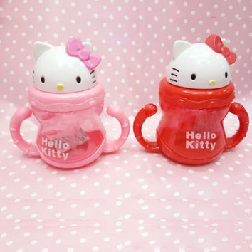 DISNE Hello Kitty Non-spillable mug bottle with a straw Drinking Bottle Folding Straw School Childens Cup Sipper Bottle Feeding