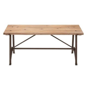 Iron Frame Accent Bench with Solid Wood Seat