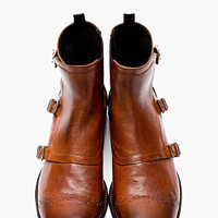 BROWN LEATHER BROGUED MONK-STRAP BOOTS