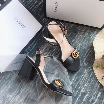 Gucci GG Women Black Leather Mid-heel Sandals