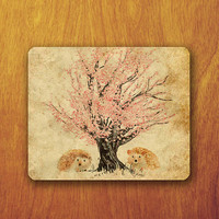 Hedgehog Painting Mouse Pad Porcupine Beautiful Sakura Tree Painting Vintage Old Paper Office Pad Work Accessory Personalized Custom Gift