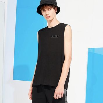 Men's Black Sleeveless T-shirt