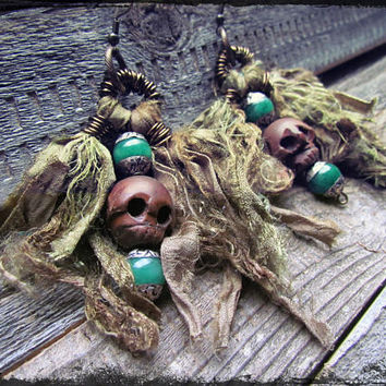 INDIE FESTIVAL Silk Sari Earrings~ Wooden Skull Copper Wire Wrapped Earrings~Green and Silver Tibetan Beads~Artisan Jewelry~Mdogstudios~