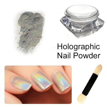 1box Colorful Holo Laser Silver Mirror Powder Rainbow Nail Dust Glitter Pigment Nail Art Sequins for Uv Nail Gel Polish