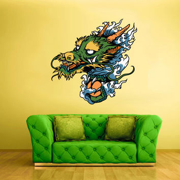 Full Color Wall Decal Mural Sticker Art Asian Japaneese Japan Dragon Head Ethnic (col200)