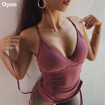 Oyoo Women's Compression Built in Bra Workouts Tank Tops Mesh Panels Back Yoga Tops Sexy Gym Clothes Athletic Sport Shapewear