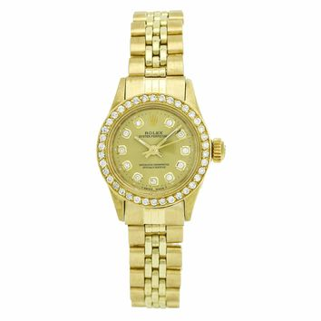 Rolex Oyster Perpetual 14k Yellow Gold Vintage Ladies Watch 6719
