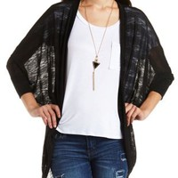 Slub-Striped Cocoon Duster Cardigan by Charlotte Russe