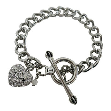 Juicy Couture Pave Heart Charm Bracelet with Toggle Closure for Women or Teens