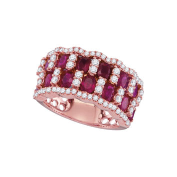 3-4Center Total Weight -Diamond 3  Carat-RUBY RING