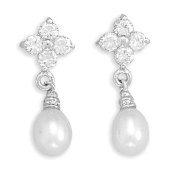 Rhodium Plated Cubic Zirconia Flower And Cultured Freshwater Pearl Post Earrings