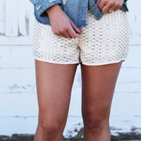 Beads On Sequins Cream + Gold Shorties