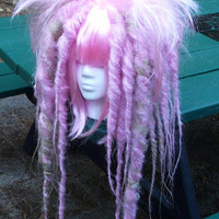 Pink & Blonde Full Dread WIG Hair Art cyber goth punk hippie boho gypsy festival circus rave raver cosplay comic con anime japan hippy huge