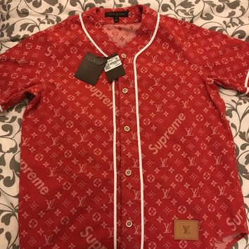 SUPREME x LOUIS VUITTON Monogram Red Denim Baseball Jersey Shirt Size small