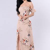Lovely Garden Dress - Mocha/Floral