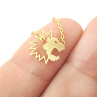 Tiny Lion Face Shaped Animal Cut Out Charm Necklace in Gold | Animal Jewelry