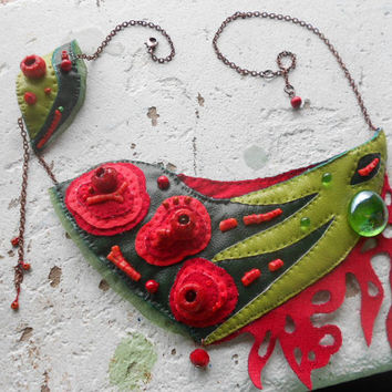 Bib-Necklace with red Corals,handmade Ceramic,Glass & Wooden beads,Eco-Leather,Organza and Copper chain! ~Embers of DeepForest~ Bib-Necklace