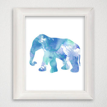 Elephant Art Print, Watercolor Elephant, Elephant Nursery Art, Nursery Art Print, Elephant Painting, Elephant Wall Decor, Elephant Decor