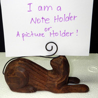 Vintage Cute Carved Wood Cat Note or Picture Holder - Purrfect!