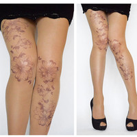 Tattoo Tights With Flowers Print, Handprinted Womens Pantyhose,Trendy Tattoo Tights