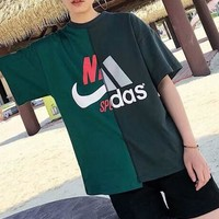 NIKE&ADIDAS New Fashion Summer Print short sleeve T-shirt C-AA-XDD Green
