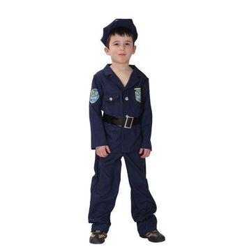 ONETOW Fantasia Boys Kids policeman Cosplay Halloween Officer uniforms Costumes for Children Carnival Christmas Purim Masquerade dress