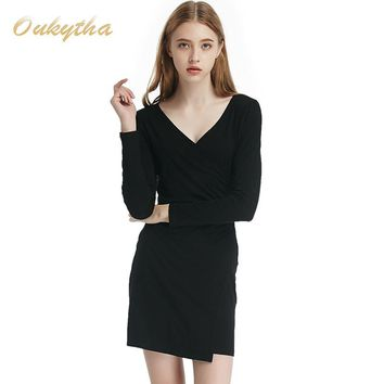 long-sleeved dress slit package hip waist was thin solid Slim