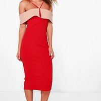 Finola Contrast Fold Over Detail Midi Dress | Boohoo