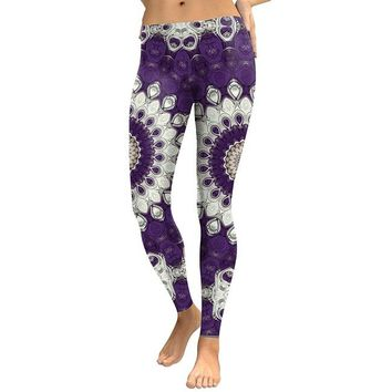 Digital Mandala Flower Women's Purple & White Slim High Waisted Elastic Printed Fitness Workout Leggings