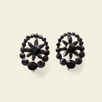 Victorian Floral French Jet Mourning Earrings