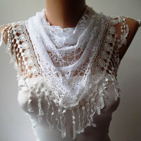 White Lace and Elegance Shawl / Scarf with Lace by SwedishShop