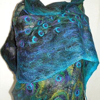nuno felted silk scarf shawl wrap PEACOCK handmade art to wear, silk wool scarf, eco fashion by Kantorysinska