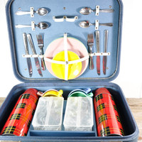 Vintage Picnic Set in Suitcase // Thermos, Dishes, Food Storage Containers and Utensils