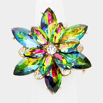 """1.40"""" gold iridescent crystal floral stretch cocktail ring prom bridal"""