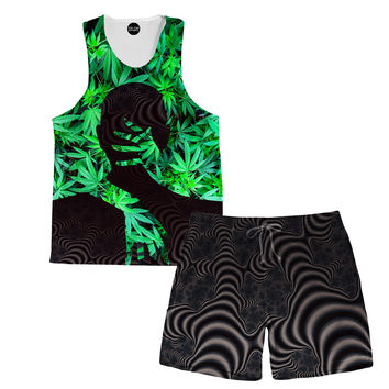 Marijuana Love Tank and Shorts Rave Outfit