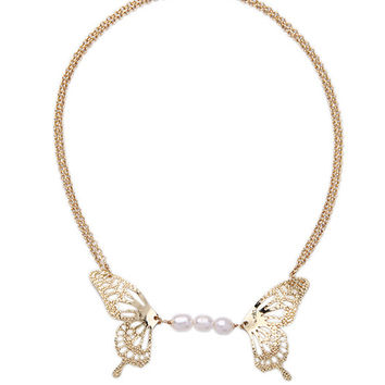Glod Butterfly Pearls Chain Necklace
