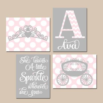 PINK GRAY Nursery Art,Princess Wall Art,Baby Girl PRINCESS Decor,She Leaves Sparkle,Crown Carriage,Crib Decor,Canvas or Prints,Set of 4