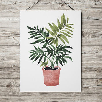 Flower print Potted plant poster Botanical art Watercolor print ACW653