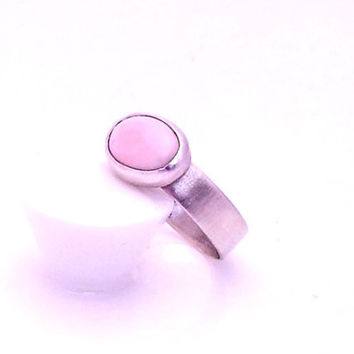 Oval Coral Cabochon Ring with Sterling Silver Band