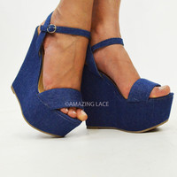 Their Denim Darling Platform Wedges