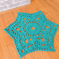 Teal Blue Star Accent Rug