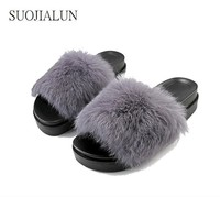 women fur slides shoes fuzzy slippers women sandals warm house slippers lady shoes sum  number 1