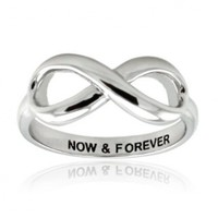 Tioneer Sterling Silver Now & Forever Engraved Infinity Ring
